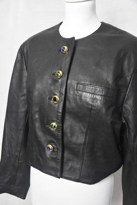 Short leather jacket 80's women's  black leather … - image 2