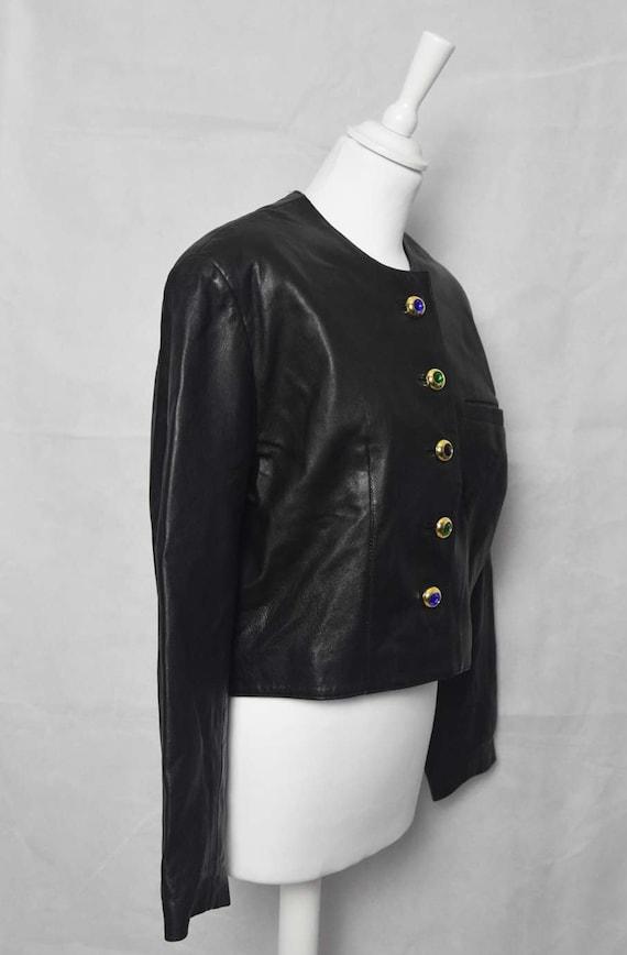 Short leather jacket 80's women's  black leather … - image 3