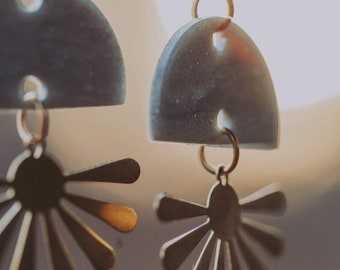 Sunbursts in silver or green — lightweight polymer clay