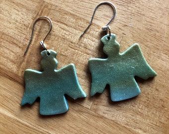 Angel earrings in gradient gold blue — lightweight polymer clay