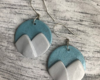 Large Mountain Ranges in white/blue — lightweight polymer clay