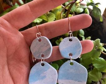 """Fieldstone double drop earrings in """"Nor'easter"""" — lightweight polymer clay"""