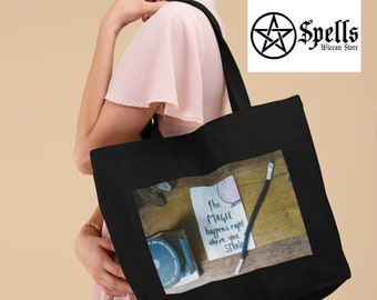Magic happens where you stand Large Eco-friendly organic tote bag, cotton tote bag, Witchcraft, witchy store, personalized gift, tote canvas