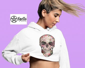 Skeleton Face Crop Unisex Hoodie, Skull Hoodie design, Print design, hoodies for women, Witchcraft, graphic hoodie, Witchy clothing, gift