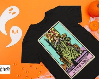 Queen of Wands Tarot Short-Sleeve Unisex T-Shirt, tshirt, tarot deck, clothing, witch, graphic tee, witchcraft, tarot card, print shirt