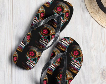 Colored Skull Flip-Flops, Unisex, slippers, Gift, Witchcraft, Witch, accessories, skeleton, wedding gift, birthday gift, shoes