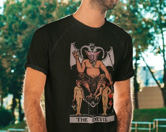 The Devil Tarot Card unisex T-Shirt, graphic tee, tarot t shirt, Tshirt, Tarot deck, Witchcraft, print shirt, print tee, graphic tees, shirt