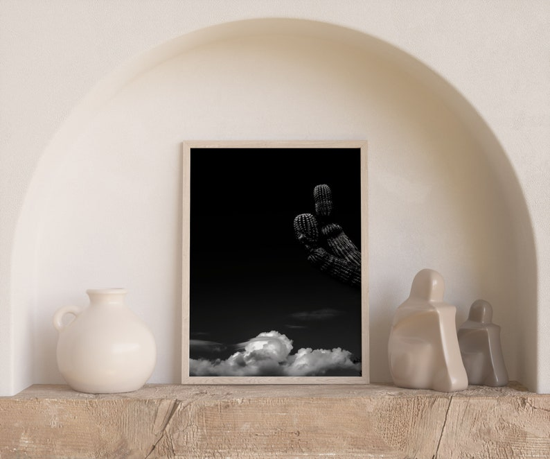 Cloud Art Saguaro Print,Saguaro Photography Handmade Cactus Photography Arizona Cactus Black and White Photography Cactus Photography