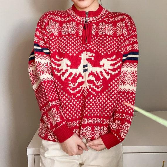 Red Fair Isle Christmas vintage sweater