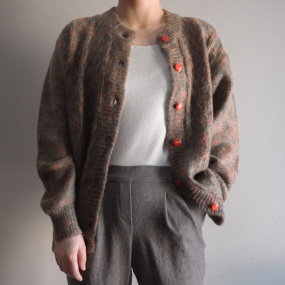 Mohair cardigan tweed cable knit with lining vinta