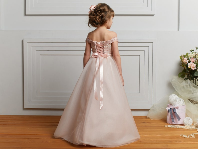 1b65364639 Blush Flower Girl Dress Tulle baby dress Rose Tutu dress