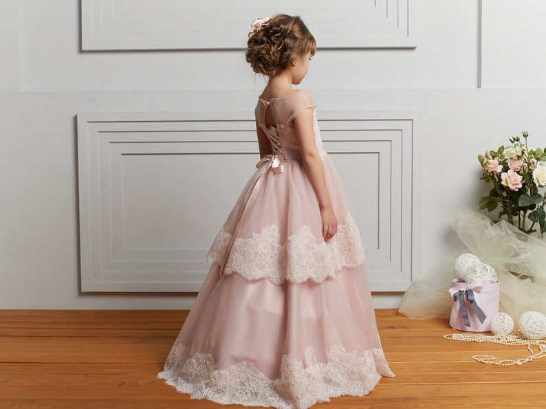 c9f8274498 Blush Flower Girl Dresses tulle Junior Bridesmaid dress