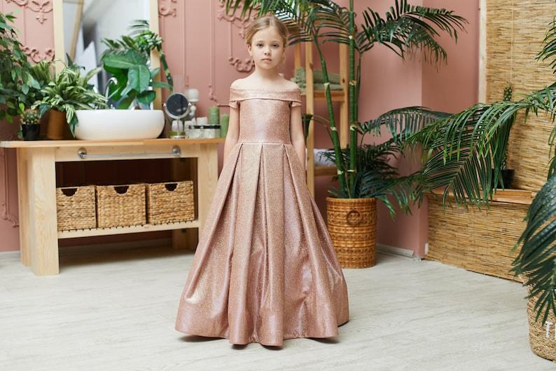 Bronze Flower Girl Dresses Lace Formal girl Dresses Tutu dress image 0