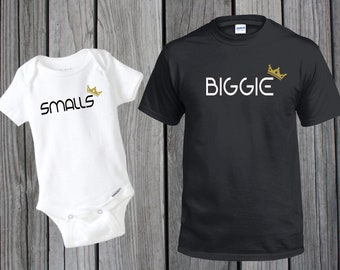 8604f87a3 Customized Dad and Baby, BIGGIE SMALLS Matching T-Shirt and Onesie |  Creeper | Bodysuit