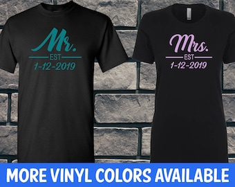 2460c421a6 Customized Mr and Mrs Shirt, Bride and Groom, His and Hers, Couples  Honeymoon, Newlyweds Matching T-Shirts