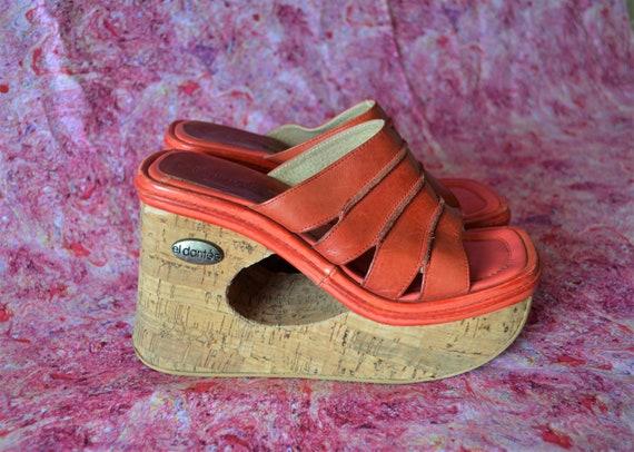 EL DANTÉS Spain Red Leather Square toe Arty Platfo