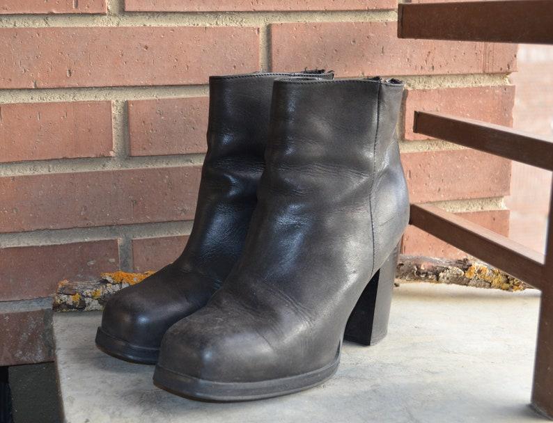 ef599732299e 90s Platform chunky Leather ankle Boots square toe UK 7 US 8.5