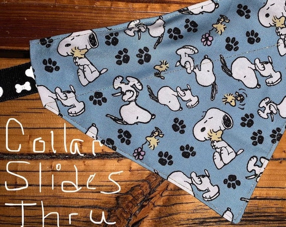 Snoopy Pet Bandana, Assistedly Made by Special Olympians, Collar Slips Thru, Made in Montana, Dog or Cat Gift, Holographic Gold Thread