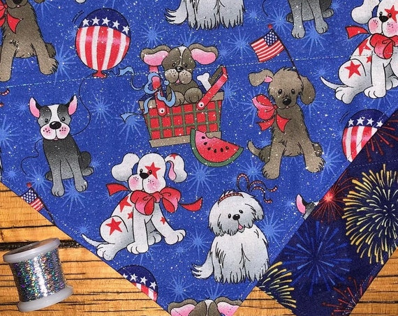 Reversible Patriotic Dog Bandana, Collar Slides Thru, Designer Dog Scarf, Made in Montana Assistedly by Special Olympic Athletes