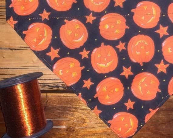 Pumpkin Pet Bandana, Jack o Lantern Costume, Collar Slips Thru for Halloween Trick or Treat, Dogs Puppies Cats Ferrets, Made in Montana
