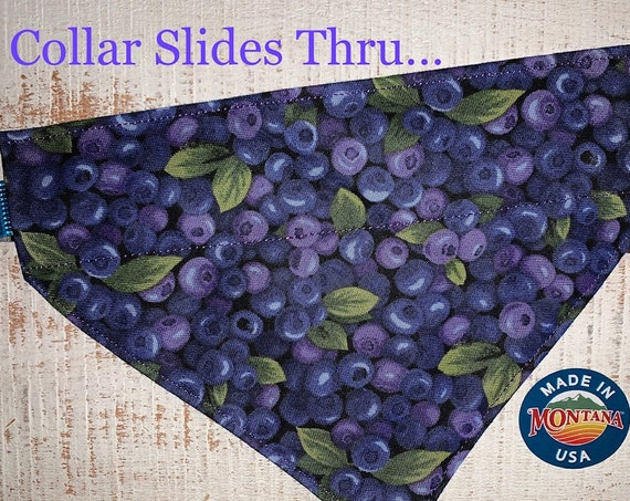 Montana Huckleberry Pet Bandana, Dog or Cat Bandana, Made in Montana Assistedly by Special Olympians, Same Day Shipping Free