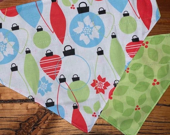 LAST ONES Reversible Pet Bandana, Assistedly Made by Special Olympians, for Holiday Pet Pics, Stocking Stuffer Kitty Pup, Christmas Gift Cat