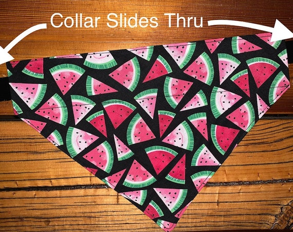 Watermelon Pet Bandana, Dog or Cat Bandana, Ferret Scarf, Guinea Pig Scarf, Rabbit Scarf, Made in Montana Assistedly by Special Olympians