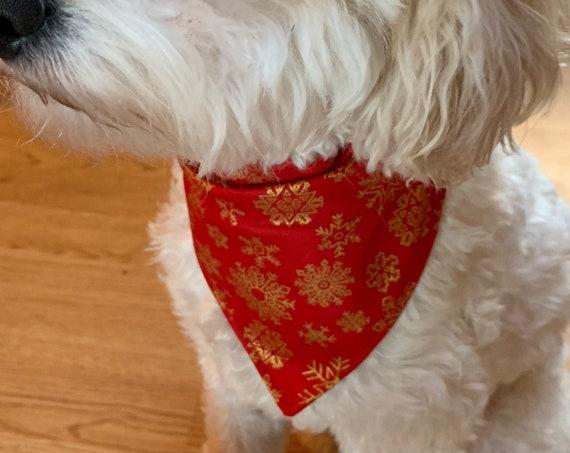Winter Pet Bandana, Golden Snowflakes Bandana, Dog Cat Bandana, Collar Slips In, Assistedly Made in Montana by Special Olympians