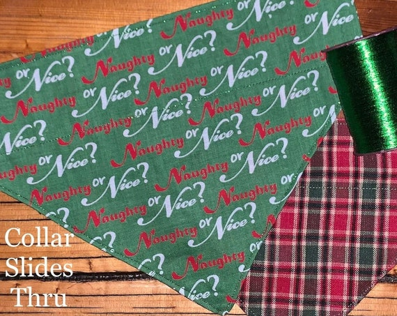 Reversible Pet Bandana, Collar Slides In, Winter, Plaid, Christmas, Dog, Cat, Stocking, Assistedly Made by Young Adults with Special Needs