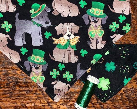 Reversible Pet Bandana, Special Needs Project, St Pat's Thru Collar, Made in Montana, Glittery Shamrocks, Metallic Green, Ready to Ship!