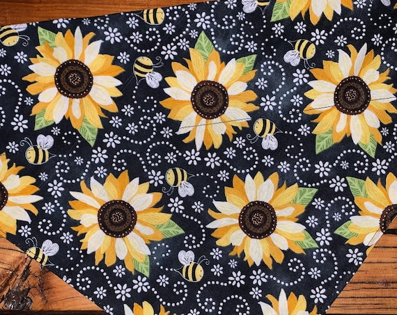 Sunflower Pet Bandana, Collar Slips Inside, for Pet Photos, Dogwalks, Bumblebees Buzzing, Made in Montana Assistedly by Special Olympians