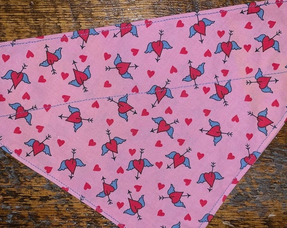 Thru Collar Pet Bandana, Special Needs Project, Made in Montana, Hearts Cupid Angel Wings Valentines, Pet Gift, Dog Cat Ferret Guinea Pig
