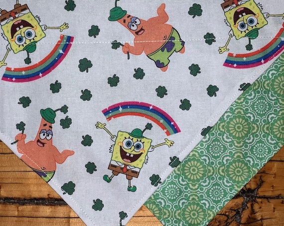 Spongebob REVERSIBLE Pet Bandana, for Dog or Cat, Collar Slips Thru, Best Day Ever, Ready to Ship, Made in Montana, Free Shipping!