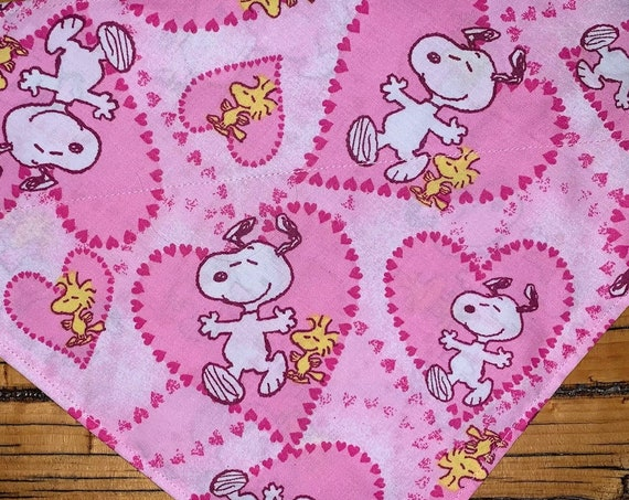 Snoopy Pet Bandana, for Dog Cat or Critter, Ready to Ship, I Heart My Pet, Puppy Love, Assistedly Made by Young Adults with Special Needs