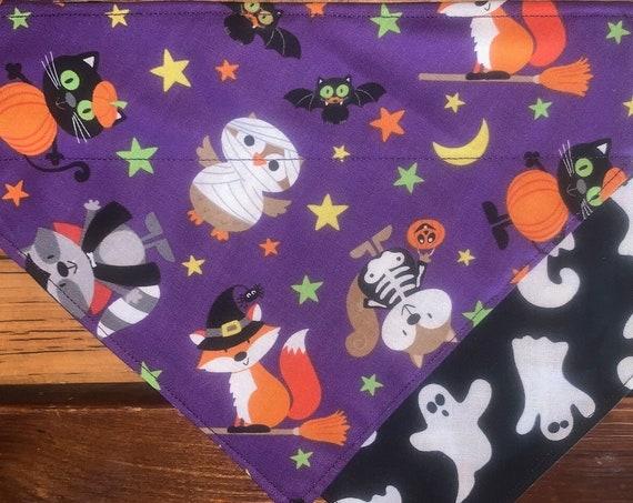 Fun Pet Bandana for Halloween, Reversible, Collar Slips Thru, Dog or Cat Costume, Ghost Pet Bandana, Ready to Ship, Free Shipping!