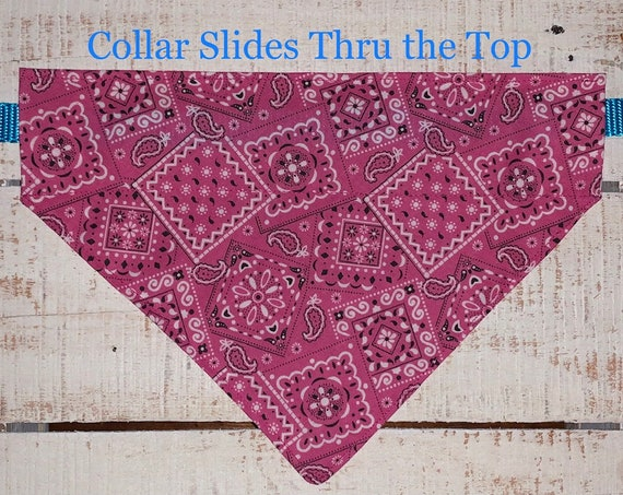 Vivid Pink Pet Bandana, for Dog Cat or Critter, Cowgirl Print, Collar Slips Thru, Made in Montana Assistedly by Special Olympians