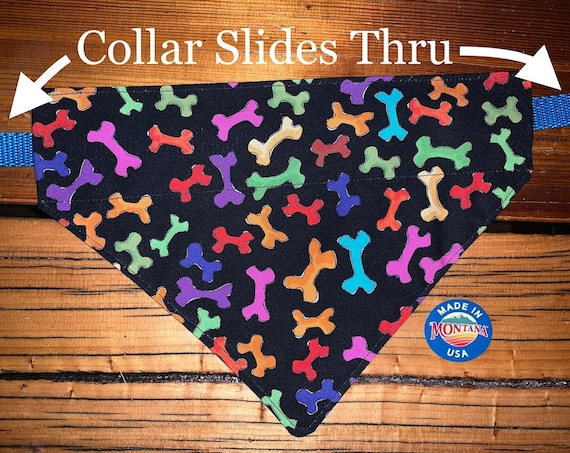 Fun Pet Bandana, Collar Slips Inside, Ready to Ship, Made in Montana Assistedly by Special Olympic Athletes!