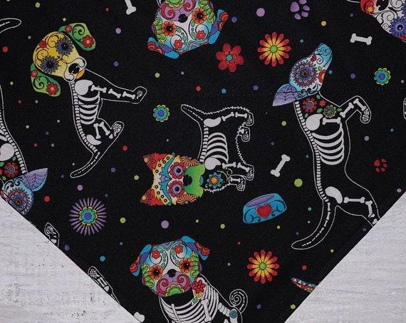 Sugar Skull Dogs Bandana, Halloween Dog Costume, XRay Dog Design, Dogs and Bones Fabric, Collar Slips Thru, Gift for Dog Lover