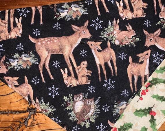Reversible Pet Bandana, 2-Sided Christmas Deer and Holly, Stocking Stuffer Pet, Holiday Gift, Metallic, Assistedly Made by Special Olympians