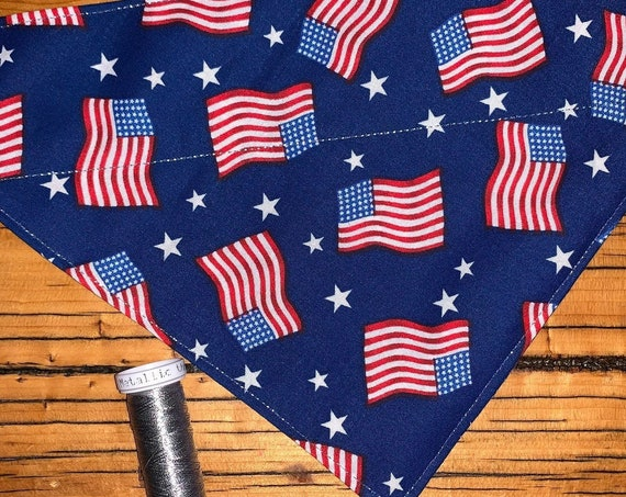 Flag Pet Bandana, Dog Cat Ferret Guinea Pig Critter Gift, Collar Slides Thru, Made in Montana Assistedly by Special Olympic Athletes
