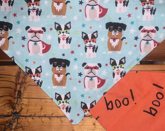 Reversible Pet Bandana for Halloween, 2-Sided Masked Dogs and Boo!  Limited Sizes, Free Shipping, Assistedly Made by Special Olympians