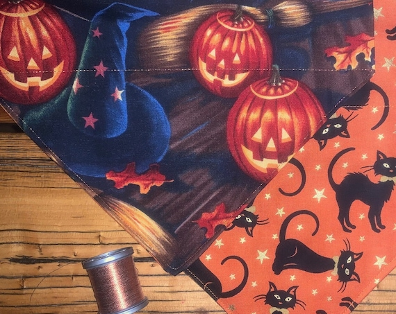Reversible Pet Bandana for Halloween, 2-Sided Hocus Pocus and Black Cats, Free Shipping, Assistedly Made by Special Olympians =)