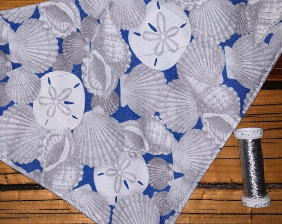 Seashell Pet Bandana, Collar Slides Thru, Ready to Ship, Gift for Dog or Cat, Made in Montana Assistedly by Special Olympic Athletes!
