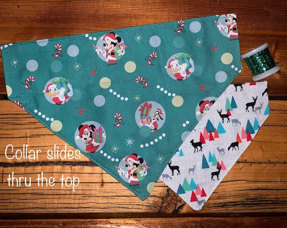 Reversible Mickey Pet Bandana, Christmas and Winter Side, Holographic Thread, Stocking Stuffer Dog Cat, Assistedly Made by Special Olympians