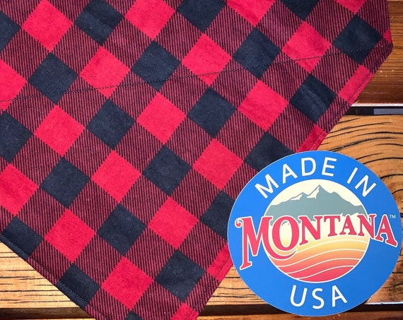 Buffalo Plaid Pet Bandana for Dog Cat or Critter, Collar Slips Thru, Made in Montana by Young Adults with Special Needs