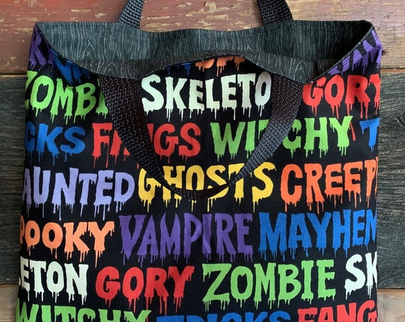 Reversible Trick or Treat Bag, Fun Book Bag, Reusable Lunch Sack, Kids Tote Bag, Ready to Ship, Made in Montana, Free Shipping!