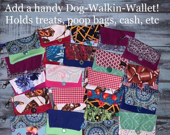 Add on Dog Walkin' Wallet, Handy Pouch that Clips on Leash,  Add to Your Bandana Order, Pooch Pouch, Reuseable Gift Card Holder, Pet Gift