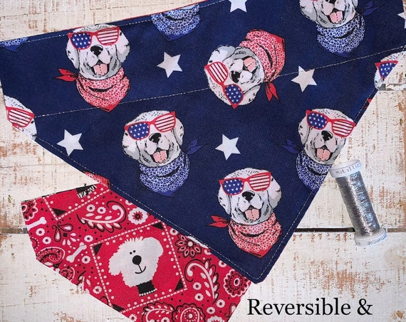 Designer Dog Bandana, Collar Slides Thru, Patriotic Gift for Your Dog, Cool Dog Gear, Made in Montana Assistedly by Special Olympic Athletes