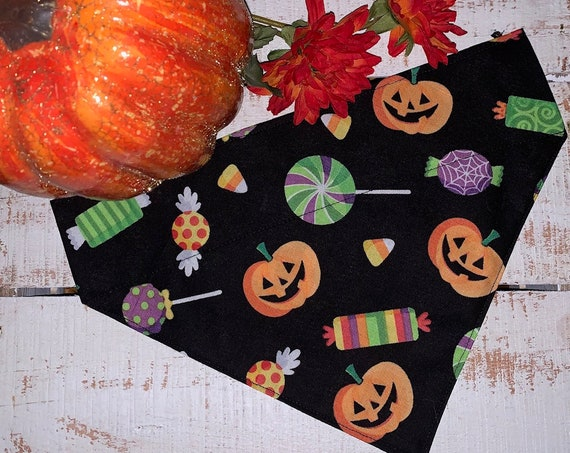 Pumpkin Pet Bandana, Halloween Penny Candy, Collar Slips Thru, Made in Montana, Trick or Treat Dog Pup Cat, Happy Jack o' Lantern, Pet Gift