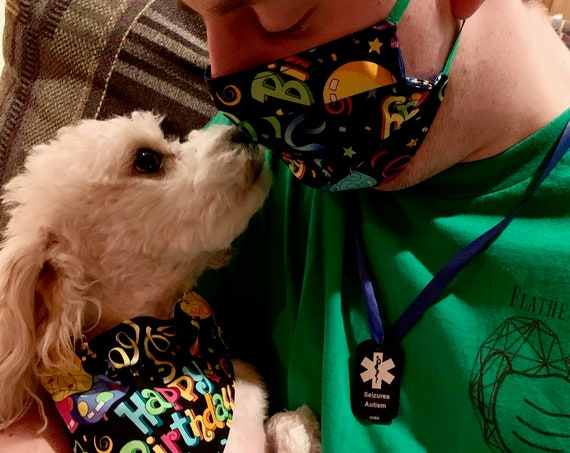 Birthday Pet Bandana or Mask, Assistedly Made by Special Olympians in Montana, Collar Slips Thru, Dog Cat Critter Gift, Adoption Rescue Gift